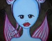 ACEO Cherry Valentine Mouse Fairy Big Eye EBSQ Original