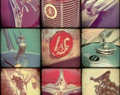 Classic Car Hood Ornaments, Collage, Fine Art Photograph, Hot Rods, Nostalgia, old cars, classic cars, print, photo, chevy, ford
