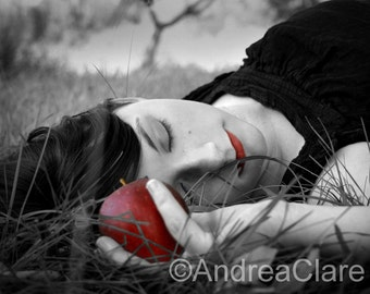 Portrait, Snow White, Red Apple, 8x10, Fine Art Photograph, Gothic, Romantic, Once Upon a Time, Print, Photo, Picture, Black White, Poisoned