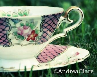 Alice in Wonderland, Tea Cup, 8x10 Fine Art Photograph, Shabby Chic, Kitchen, english, tea lover, restaurant, pink, girls, childrens,