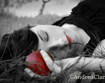 Portrait, Snow White, Red Apple, 5x7, Fine Art Photograph, Fariy Tale, Whimsical, Once Upon a Time, Poison, Red, Black White