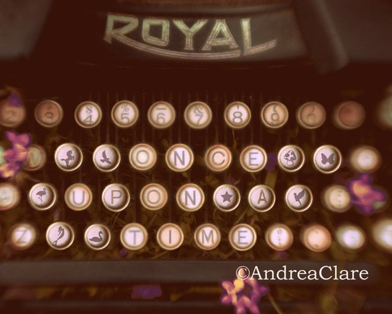 Once Upon a Time, Typewriter, Fine Art Photograph, Quote, Whimsical, Retro Decor, Surreal, Print, Photo, Key, Childrens, Quote, Letters
