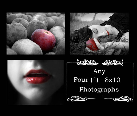 Any Four 8x10 Fine Art Photographs, Portrait ,Surreal, Black White, Whimsical, Wall Decor, print, photos, fantasy, rockabilly, steampunk
