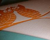 ORANGE OWLS set of three blank, folded A2 letterpress cards