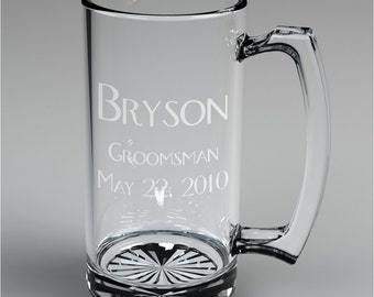 5 Personalized Groomsman Beer Mugs Custom Engraved Wedding Gift.