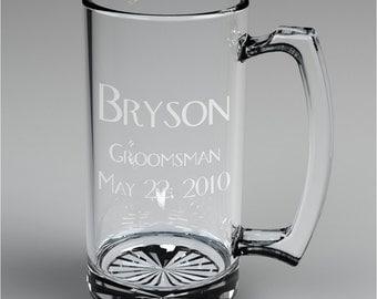14 Personalized Groomsman Beer Mugs Custom Engraved Wedding Gift.