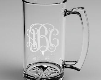 2 Personalized Groomsman Vine Monogram Beer Mugs Custom Engraved