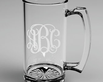 2 Personalized Groomsman Vine Monogram Beer Mugs Glass Monogrammed Custom Engraved.