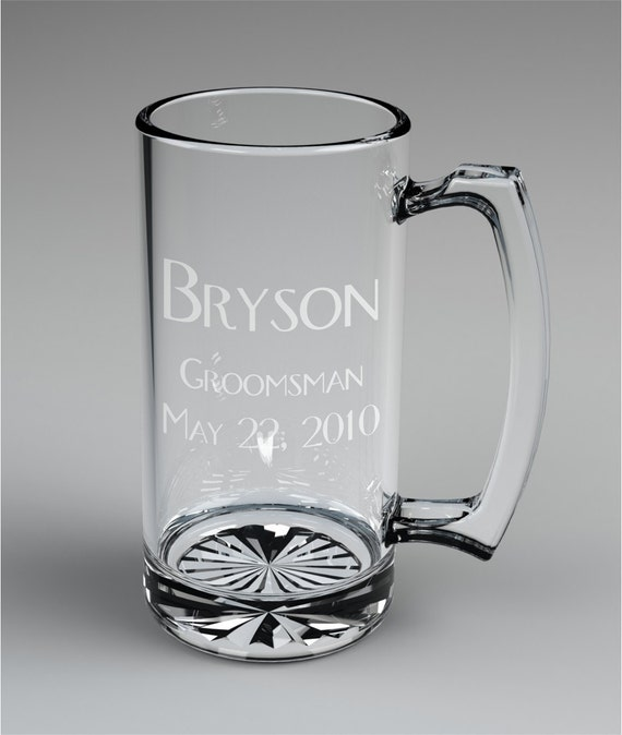 Personalized Beer Mugs Wedding Gift : Personalized Groomsman Beer Mugs Custom Engraved Wedding Gift.