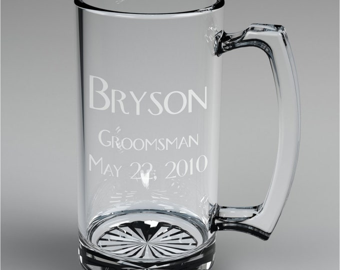 1 Personalized Wedding Engraved Groomsman Beer Mug Custom Engraved