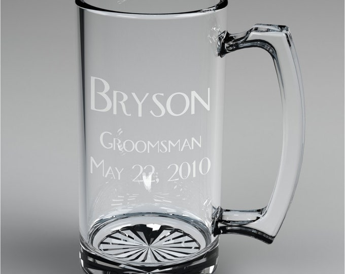 4 Personalized Groomsman Beer Mugs Custom Engraved