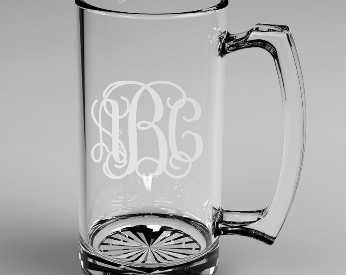 4 Personalized Groomsman Vine Monogram Beer Mugs Custom Engraved