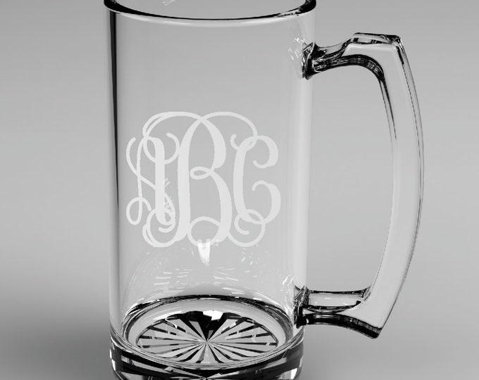 6 Personalized Groomsman Vine Monogram Beer Mugs Custom Engraved Wedding Gift.