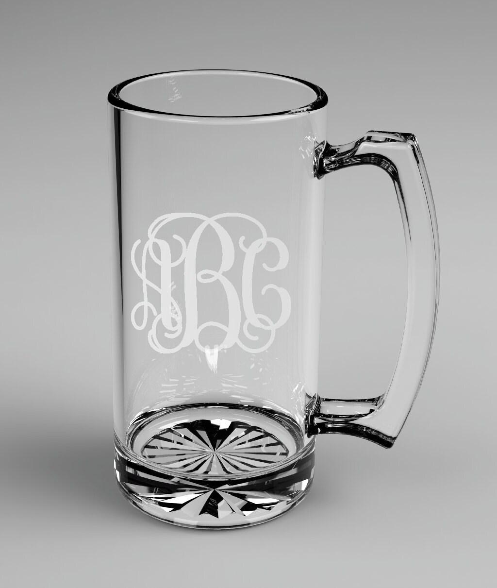 ... Groomsman Vine Monogram Beer Mugs Custom Engraved Wedding Gift