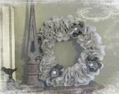 Fabric Flower Wreath in Gray