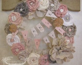 Pink and Gray Rosette Wreath