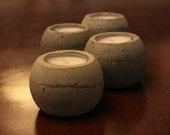 Round Concrete Tea Light Candle Holder - Set of 4