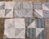 Antique- 18 Handsewn EARLY Quilt Sqs BOW TIE in Black White and Fugitive Green - 1800s fabrics - Primitive Old Homespuns Ticking Shirt fabric and  Calico From quilt