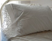 "Vintage Cotton Pillow Cases PAIR - Never Used -Crisp White with Heavy 4-1/2"" Crochet Edging"