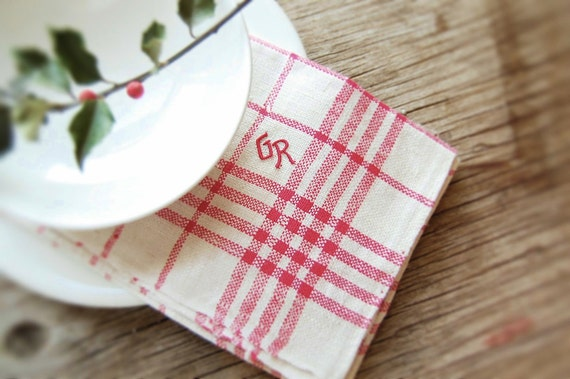 Vintage Quality FRENCH Towel Flax Linen Cranberry Red Monogram 'GR' - Farm Fresh UNUSED Find