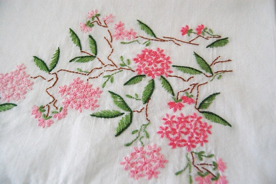 Vintage Embroidered Pillow Cases Pair - 1950s Never Used - Crisp Combed Cotton- Pink Cherry Blossoms
