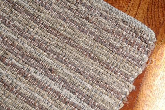 "Sale - Antique Hand Made Reversible 27"" x 50"" Woven Rag Rug Runner - Farmhouse Primitive Drab Browns"