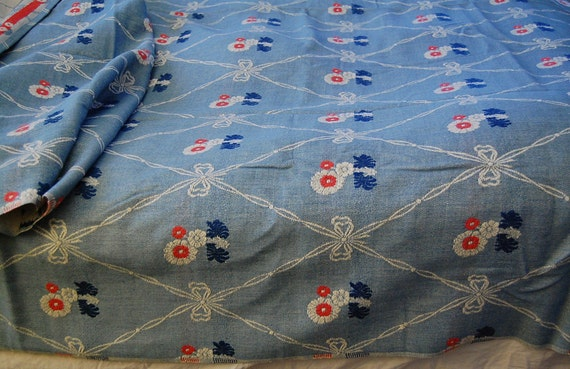 Vintage 100% Cotton BATES Bedspread - Never used BEAUTIFUL Red White and Blue Daisies and Ribbon - Single or Full