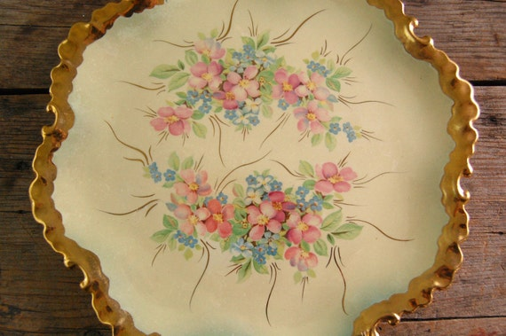 Antique Hand Painted Floral Plate - Collectible Early 1900's -Primroses and Forget Me Knots - TONS of Gold