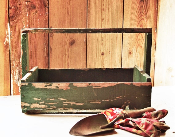 RESERVED For Susan -Antique  Wood Tote - Large Primitive - Original Green Painted - Farmhouse Garden Carry All