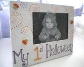 SALE- 50% OFF- Halloween Picture Frame for Baby- Handpainted with Rhinestones