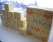 Baby Blocks- Photo Prop for Monthly Baby Pictures- Set of 28 Blocks- OWL Theme