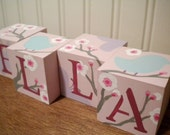 Baby Name Blocks- Personalized and Handpainted- CHERRY BLOSSOM Theme