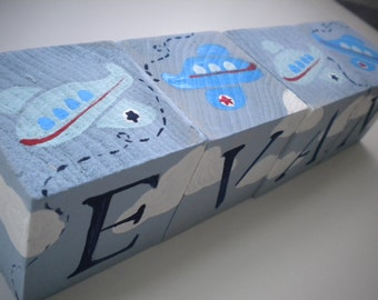 Personalized Baby Name Blocks- COOL AIRPLANES Theme