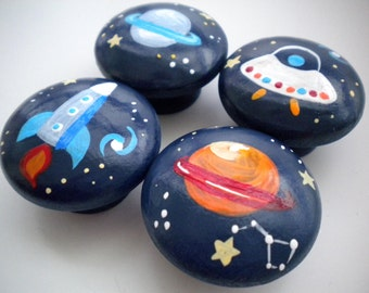 Drawer Knobs for Children- Handpainted- Space Theme- Set of 6