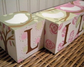 Baby Name Blocks- Personalized and Handpainted- CHIC BIRDS Theme