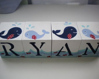 Personalized Baby Name Blocks- HAPPY WHALES Theme