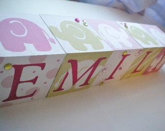 Personalized Baby Name Blocks with Bling- SWEET ELEPHANTS Theme