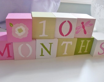 Baby Blocks- Photo Prop for Monthly Baby Pictures- Set of 18 Blocks- Multicolor PINK and GREEN