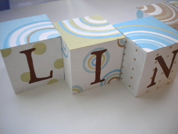 Baby Name Blocks- Personalized and Handpainted- SIMPLY CIRCULAR Theme