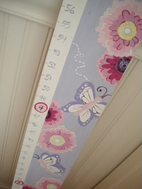 Wooden Growth Chart- Personalized and Handpainted- GERBER DAISY Theme