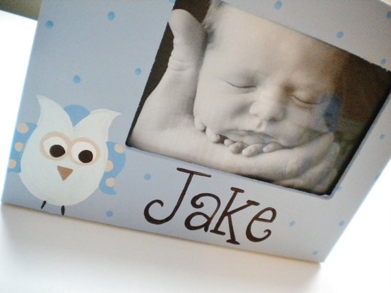 Picture Frame for Kids- Handpainted- BABY OWL Theme