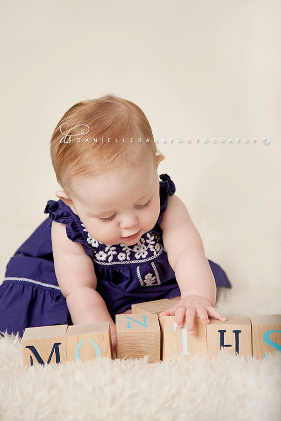 Baby Blocks- Photo Prop for Monthly Baby Pictures- Set of 16 Blocks- BLUES