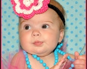 Girl's Crochet Blossom Flower Head band 3 to 6 months - Made To Order - Cute for Baby Shower