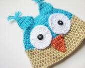 Crochet Owl Hat with Earflaps 5T to Preteen Made to Order