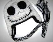 Crochet Child Tween Skull Halloween hat with Earflaps Made to Order - 5T to Preteen