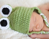 Crochet Frog with Earflaps - 6 to 12 months - Made to Order