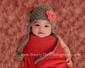 Crochet Open Weave Hat with Earflaps Newborn 3 to 6 Months Made to Order