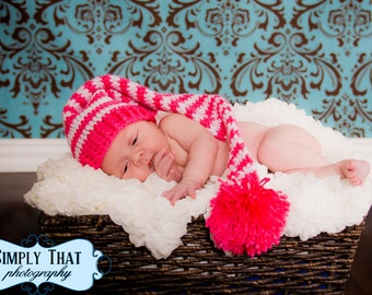 Crochet Striped Baby Elf Hat 0 to 3 months Made to Order