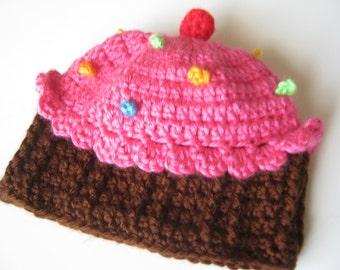 Crochet Newborn Cupcake Hat Beanie Made To Order size 0 to 3 months