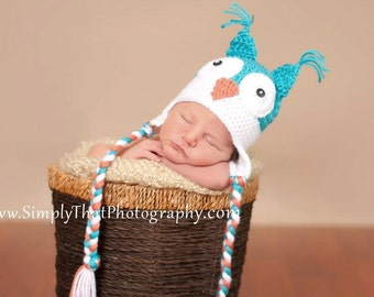 Crochet Baby Owl Hat with Earflaps Made to Order 2T to 4T
